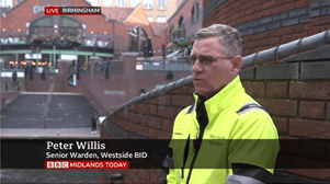 BBC news interviews Westside's street wardens after fatal violence in city centre